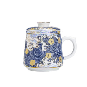 Colour enamels ceramic tea mug 330ml