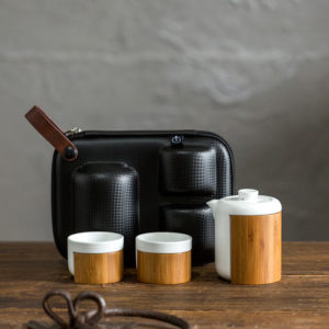 Bamboo and ceramic teapot with 2 cups handmad  tea set