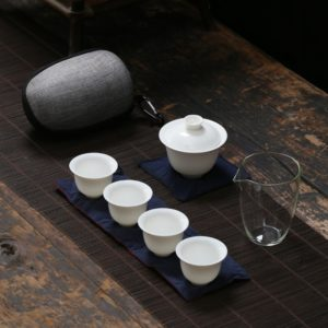 White ceramic teapot gaiwan travel tea set